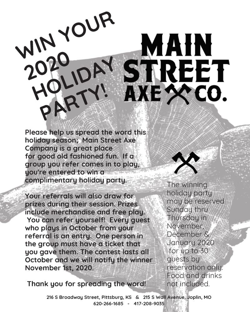 Main Street Axe Co. Holiday Party Contest